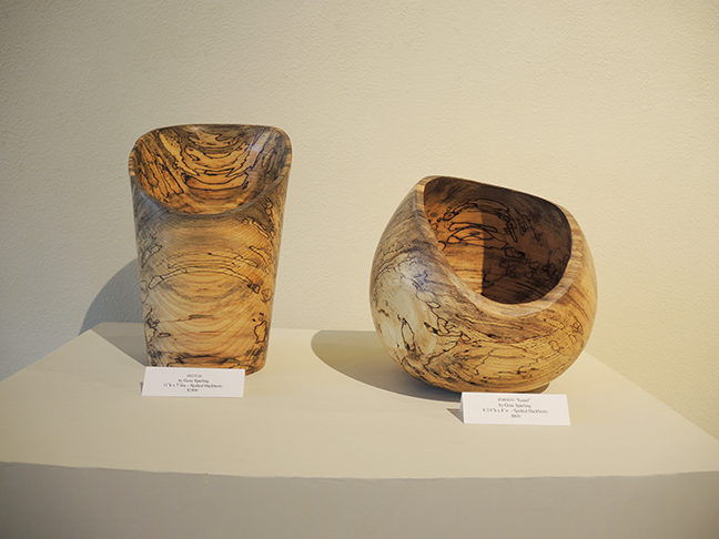 Spalted Hackberry vessels by Gene Sparling at Justus Fine Art Gallery - July 2017